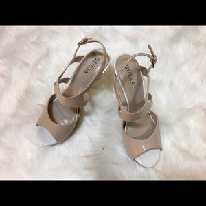 Guess faux-leather cream/white heels, 7.5